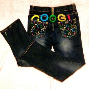 💕Coogi Dark denim embroidered bootcut jeans